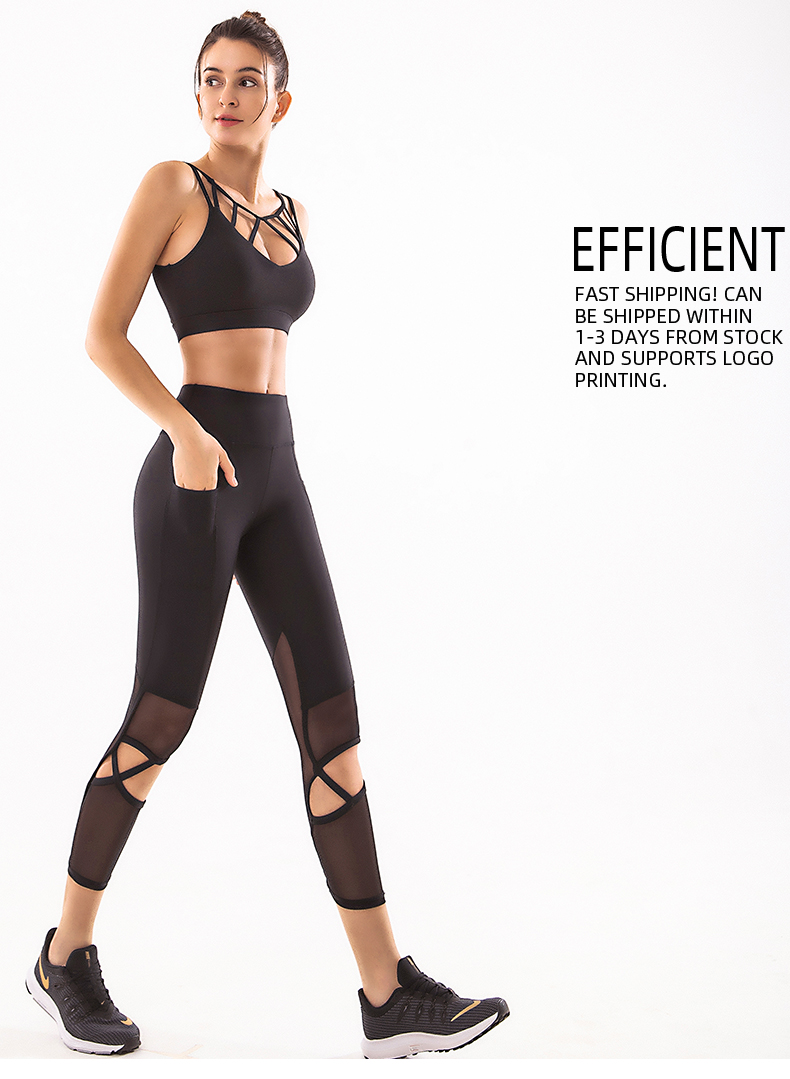 Web celebrity high-waisted buttock yoga pants Sports bra two piece set European and American yoga suit