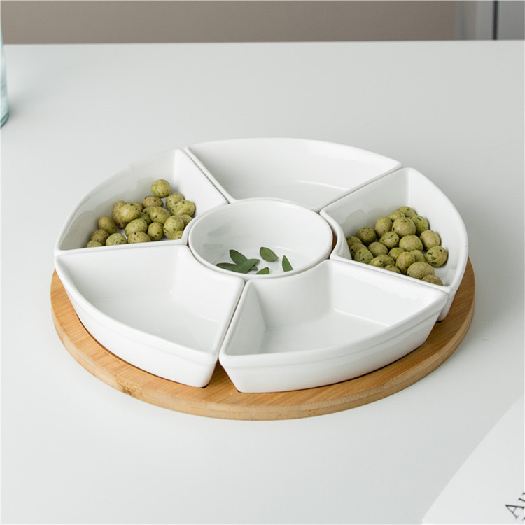 Dinnerware restaurant plate sets cheap 6 compartment round divided ceramic dishes plates with bamboo base