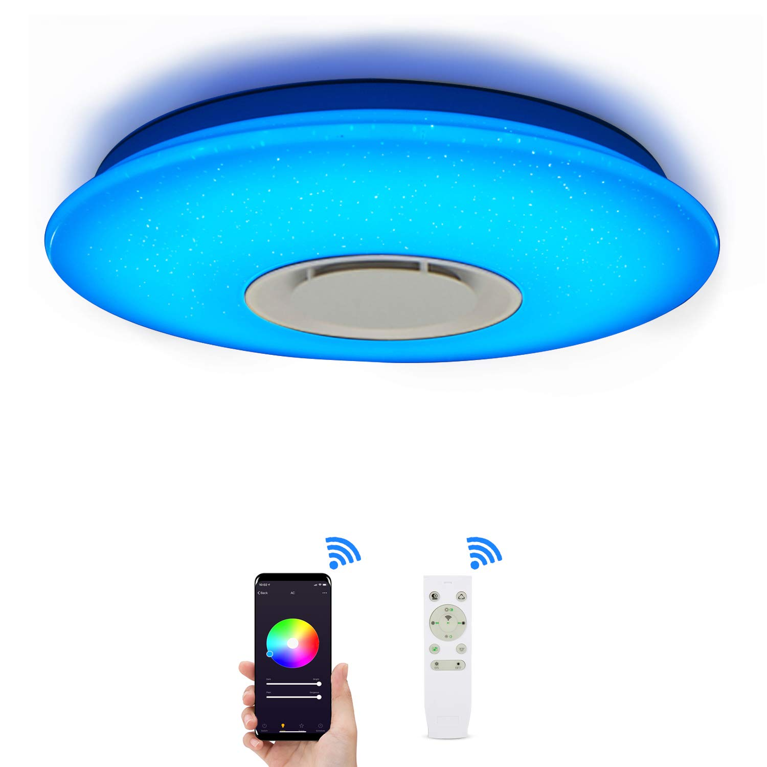 Ceiling Light with Smart Alexa WiFi Ceiling Lamp 36W, LED Ceiling Light Dimmable Multi Colour with Bluetooth-Speakers