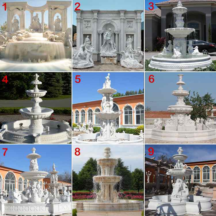 outdoor garden decor marble  stone water fountains with horse statue