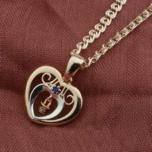 Women 585 Rose Gold Color Blue Stone White Heart Shaped Pendants Chain <strong>Necklaces</strong>