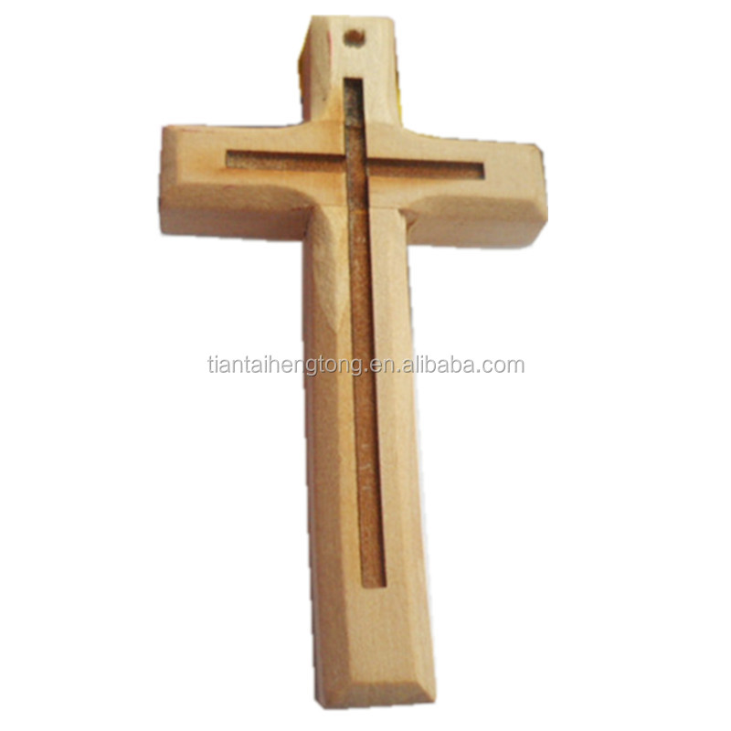 unfinished Wooden pendant cross,natural color lotus wood cross