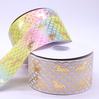 Wholesale Custom good quality 3 inch 75mm Printed Grosgrain Ribbon