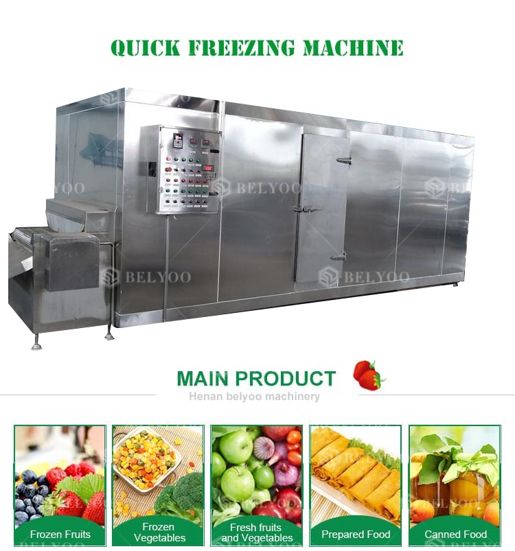 Automatic Potato French Fries Spiral Freezers Chicken Tunnel IQF Freezing Machine Line