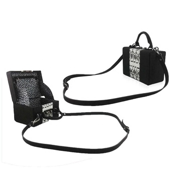 Designable rectangle leather handbag in metallic chain