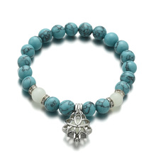 Explosion hand ornaments turquoise beads lotus luminous pendant elastic beaded yoga energy bracelets bangles