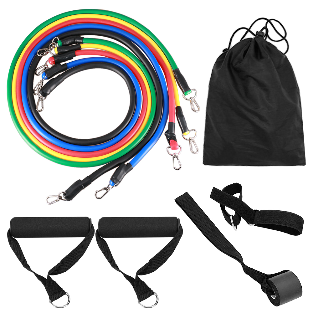 11 pcs TPE <strong>Fitness</strong> Exercises Resistance Bands Latex pull rope for Training Workout Yoga