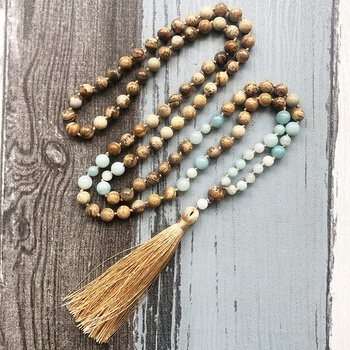 ST0596 Amazonite & Picture Jasper 108 Mala Beads Necklace For Stress Relief Hand Knotted Mala Necklace With Silk Tassel