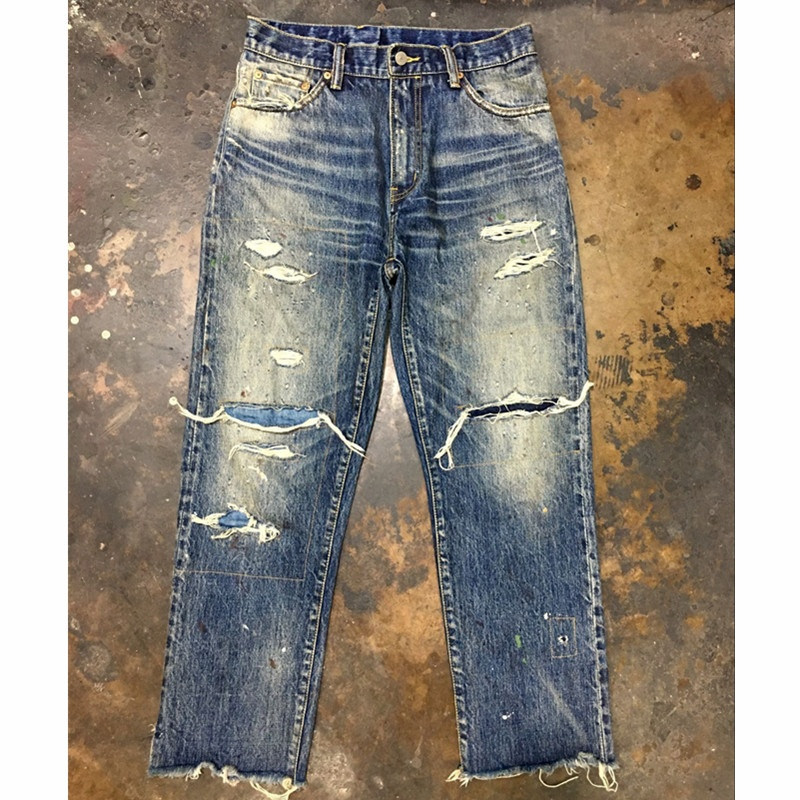 High quality vintage private <strong>label</strong> destroyed jeans pants mens selvedge denim jeans