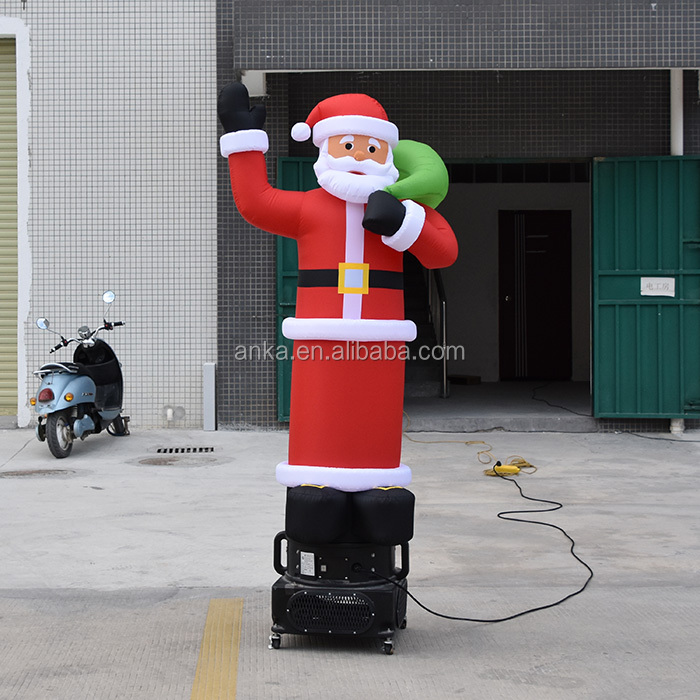 One legs cheap inflatable christmas sky air santa snowman dancer