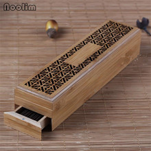 <strong>Bamboo</strong> Zen Incense Stick Burner Hollow Incense <strong>Holder</strong> With Drawer Aromatherapy Lying Censer Home Office Teahouse Decor