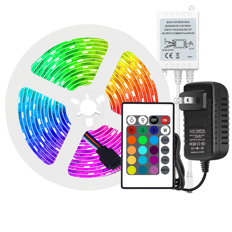 LED 5050 <strong>RGB</strong> 5m Strip 24Key IR Remote Controller Color Changing PI65 Waterproof Led Strip Lights Kit