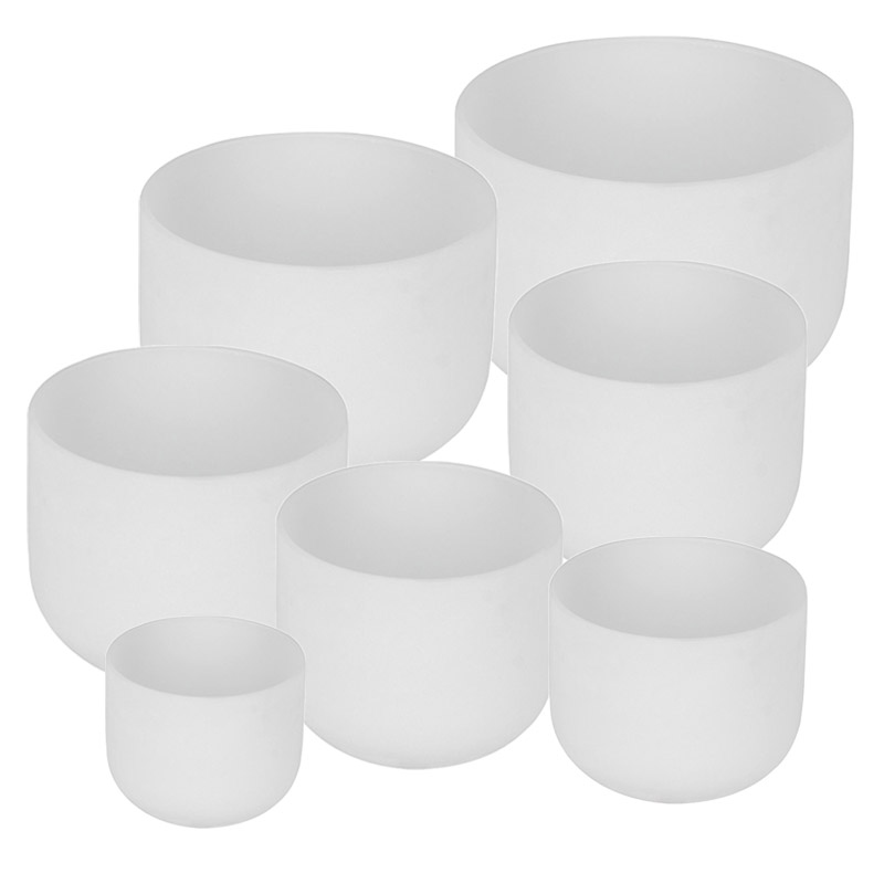 7pcs of A-B-C-<strong>D</strong>-E-F-<strong>D</strong>-G Chakra Bowl Set Frosted White Crystal Quartz Singing Bowl Set 6&quot;-<strong>12</strong>&quot;