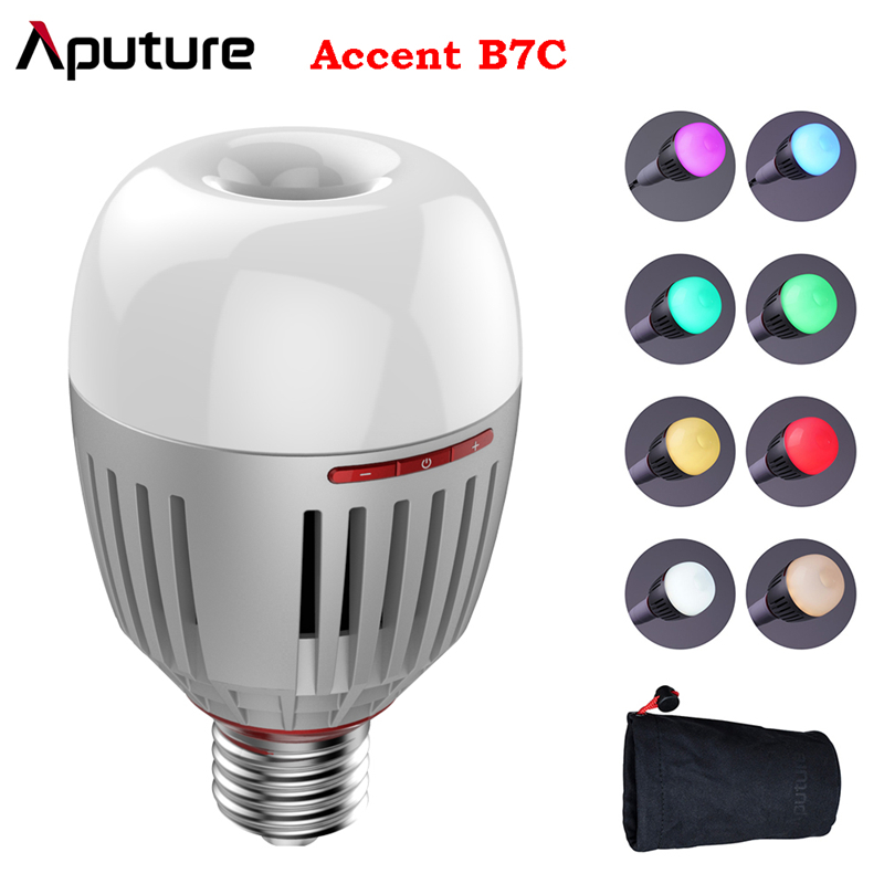 Aputure Accent B7C 7W RGBWW LED Smart Bulb CRI 2000K-10000K Adjustable 0-100% Stepless Dimming App Control Photography lights