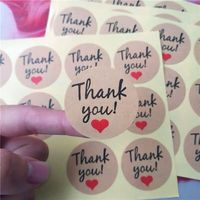 factory wholesale adhesive Custom Design Printing Kraft Paper gift Thank You Sticker Label