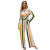Stylish Autumn Women Striped High Waist High Collar Long Sleeve One Piece Jumpsuit