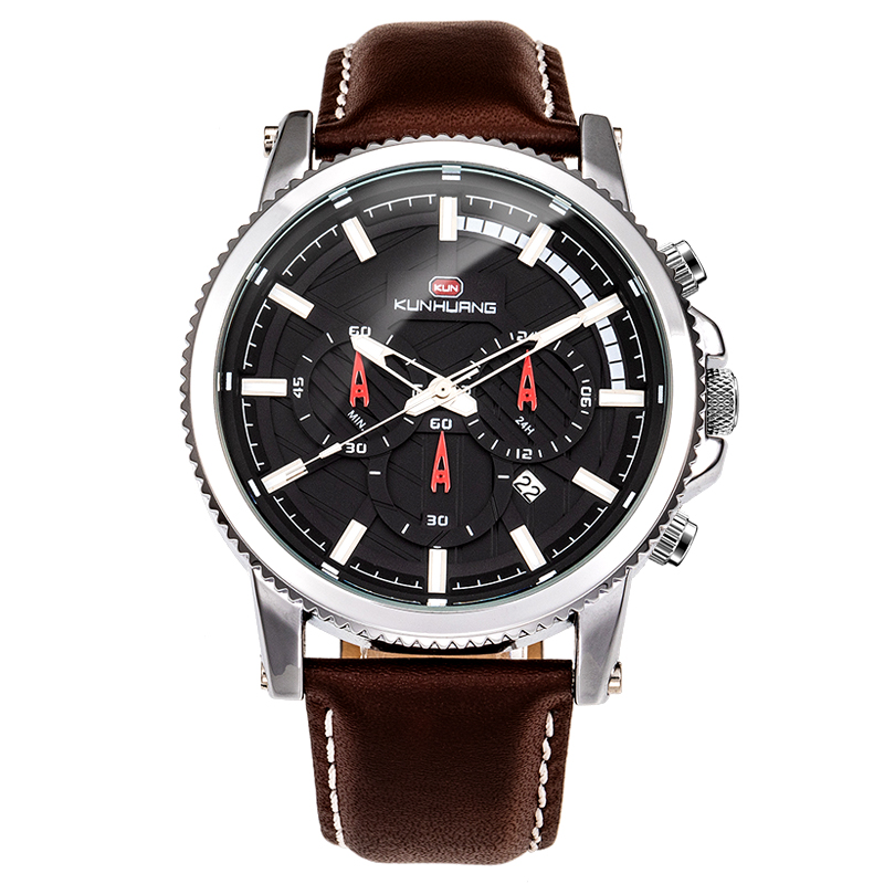 KH 2019 New Luxury Quartz Men Watch Fashion Sports Leather Strap Waterproof Wristwatch <strong>1001</strong>