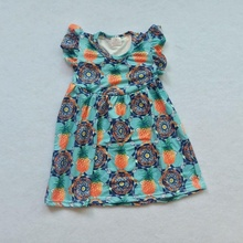 Short-sleeved <strong>dress</strong> with round collar printing for women's wear