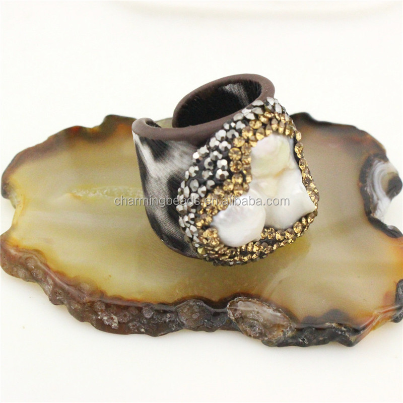 CH-CCR0072  New style crystal inlay ring, natural adjustable pearl ring, freshwater pearl ring jewelry cheap wholesale