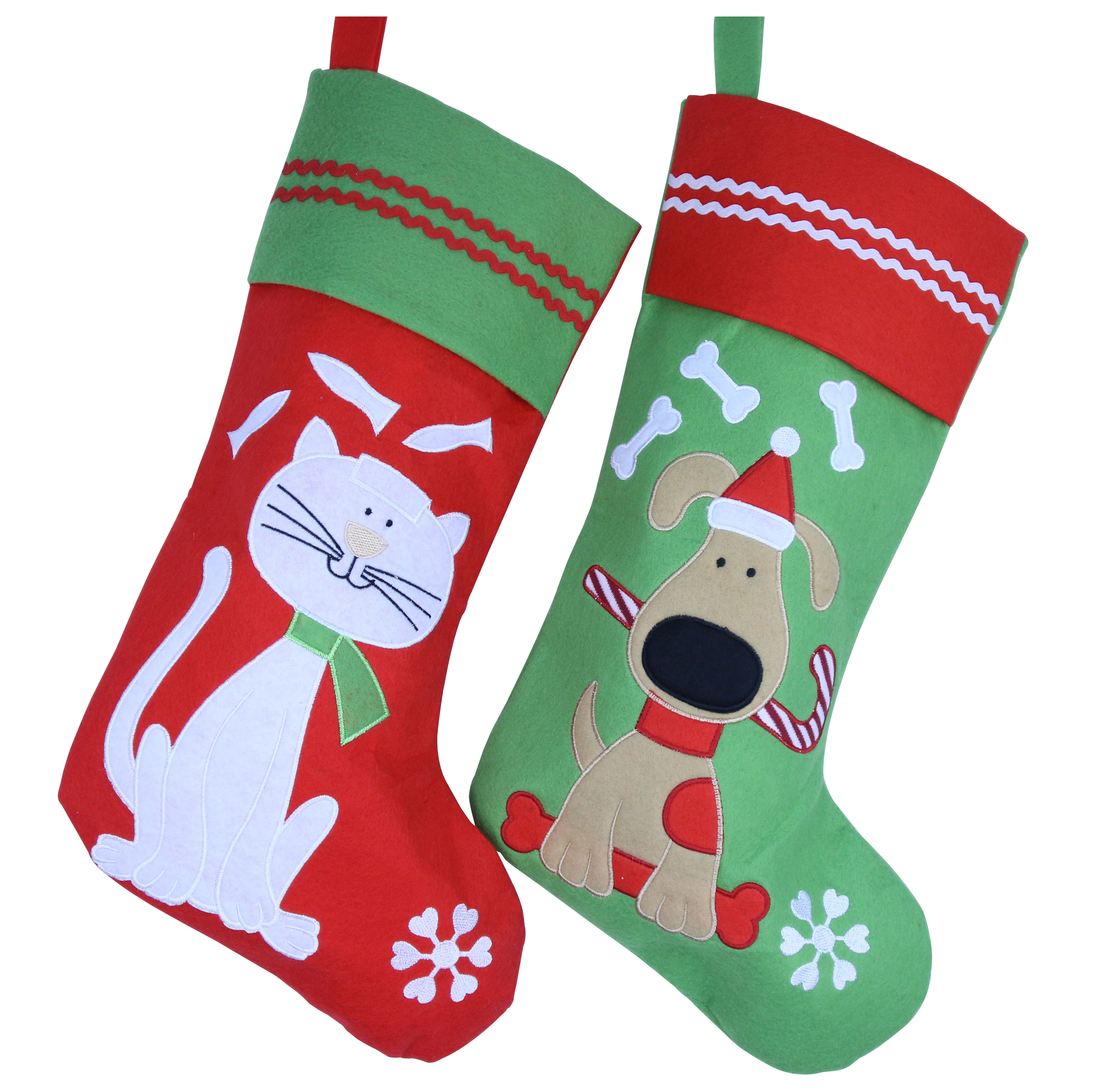 Lovely Embroidered Pets Pattern Christmas Stocking Cat personalized Stocking Decoration