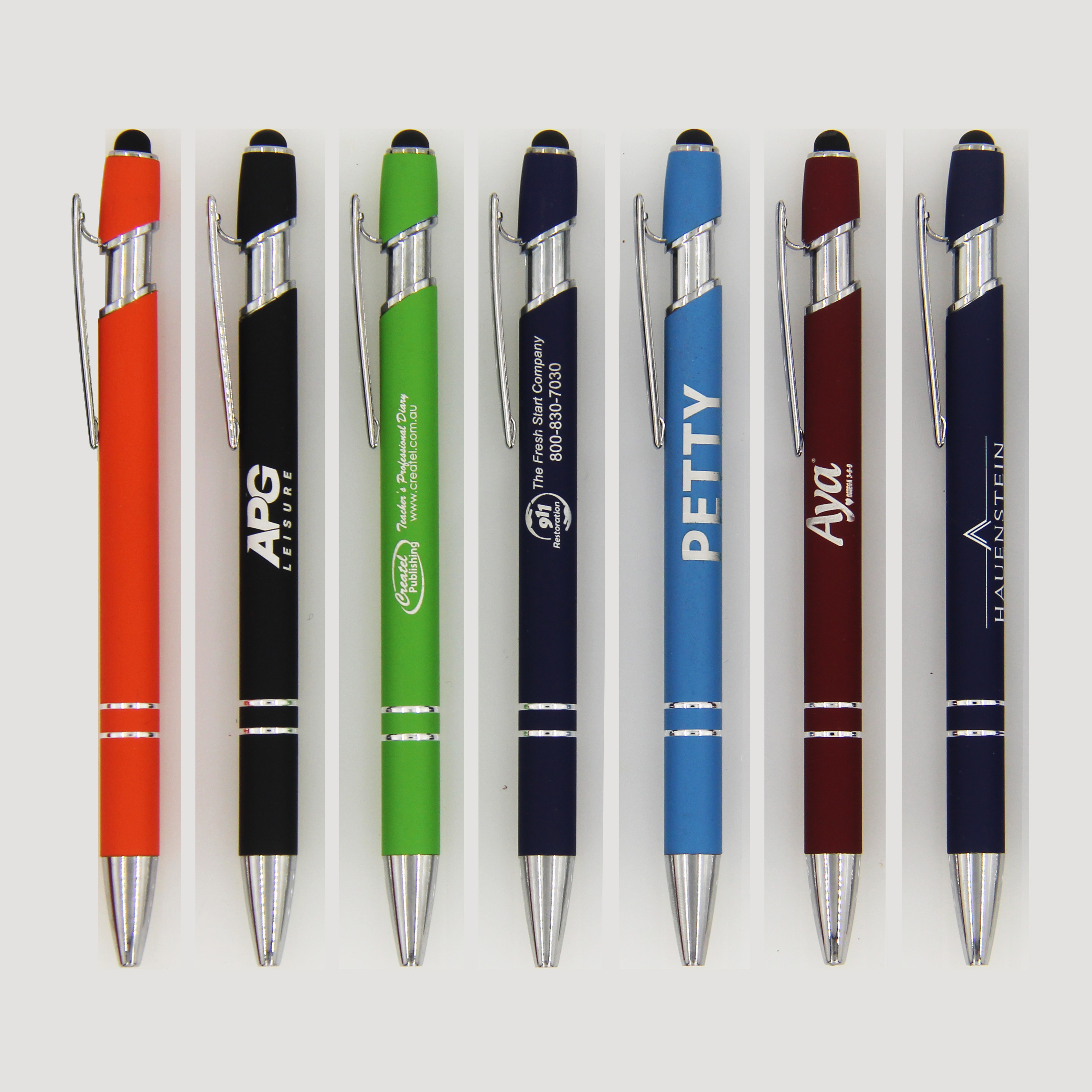 advertising rubber coated stylus metal custom design laser logo printing touch screen office ballpoint <strong>pens</strong> with custom logo