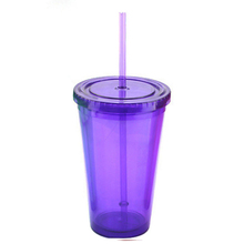 High quality simple and stylish personality <strong>flat</strong> cover 450ml plastic straw ice cup