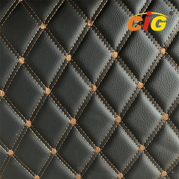 Car Seat Car Floor Embroidery PVC leather with High Density White Foam and White Non-woven Fabric
