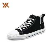 High Neck Grey White Man Rubber Casual Canvas Shoes