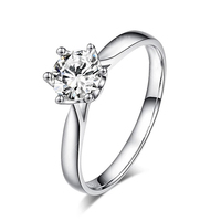 classic design High Quality 18K white gold solitaire 1 carat GH moissanite Au 750 wedding rings for women