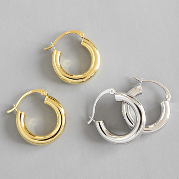 High quality 18K gold hoop 925 sterling silver earring classic hoops stud earrings for women