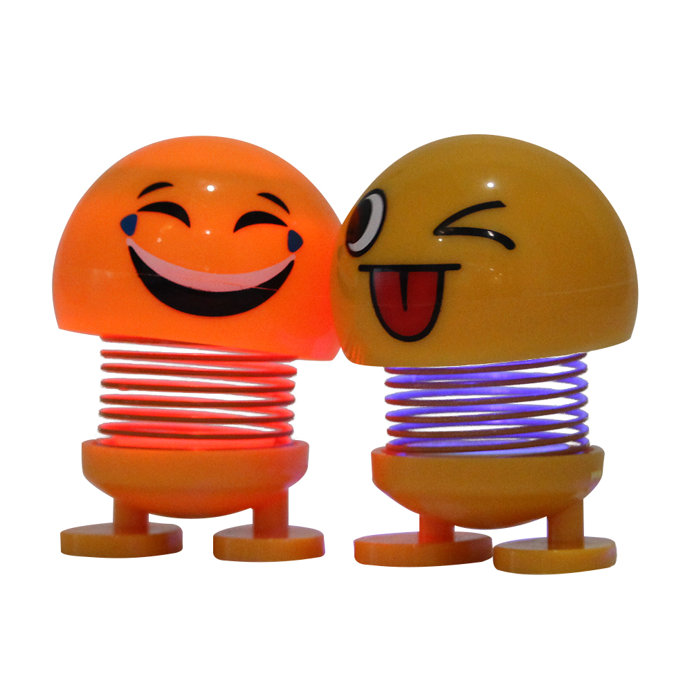 Decoration Design Car Accessory Cartoons Smiling Face Sets Smiley Spring Bouncing Emoji <strong>Dolls</strong> with led