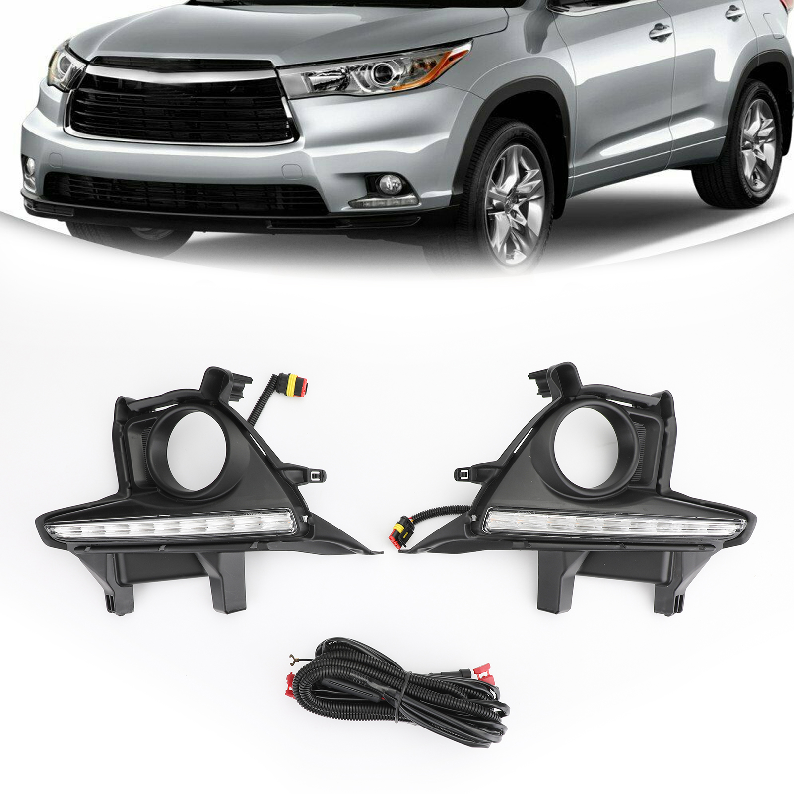 Areyourshop Pair LED Bumper Fog Lights Lamps <strong>w</strong>/Wiring Kit For Toyota Highlander 2014-2016