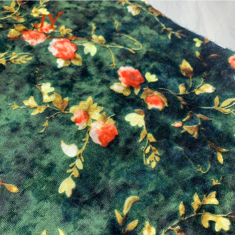 Small flower with dark green ground elastic velvet fabrir in ready goods as well as free sample