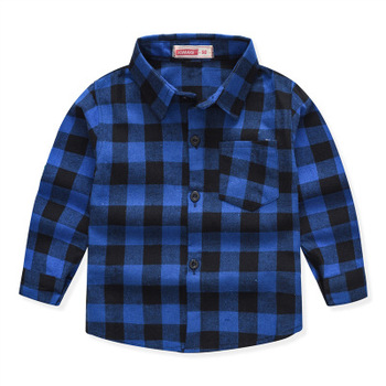 Bulk fashionable wholesale fancy latest spring cotton plaid long sleeve button down kids clothing children new model shirts boys