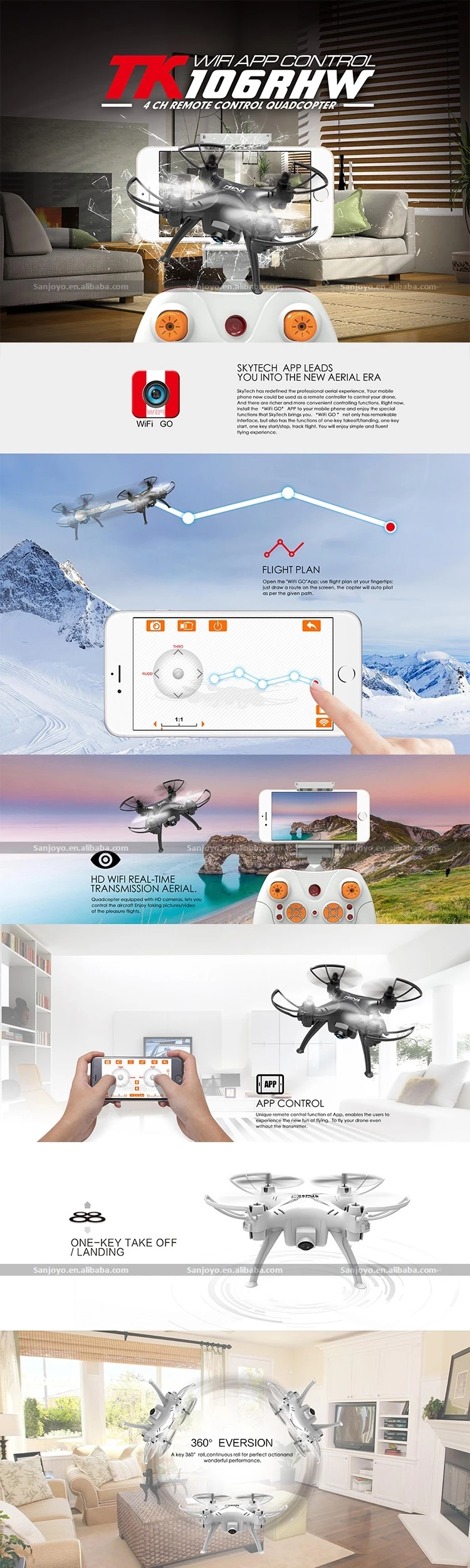 Best Cheap Drone TK106RHW 6-axis 2.4GHz RC Mini Quadcopter With 0.3MP WIFI Camera