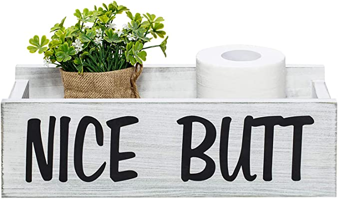 Nice Butt White Wooden Bathroom Storage Crate Toilet Decor Box