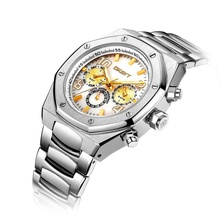 High Quality Customized Classic Multifunction Men <strong>Steel</strong> Wristwatch Collection Luxury Male Gold Watch