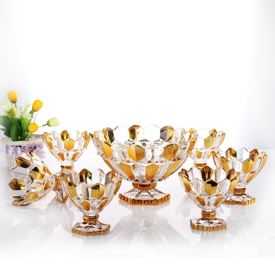 High quality 7pcs golden dinner bowl set ice cream bowl set with foot