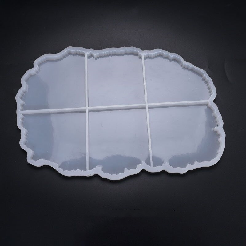 <strong>C002</strong> large size 6 pcs irregular crystal agate geode coaster silicone mold for resin DIY