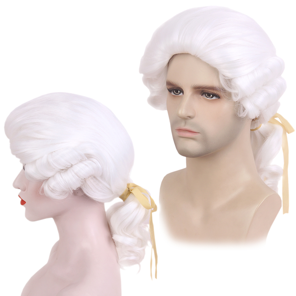 STfantasy Barrister Wig George Washington Cosplay White Long Curly Synthetic for Women Mens Halloween Judge Magistrate Lawyer At