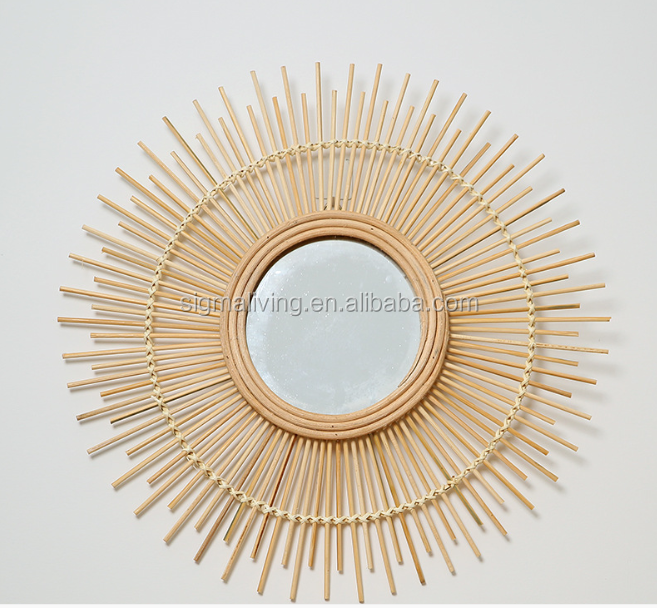 Nordic style literary retro features handmade bamboo mirror  decoration hanging mirror
