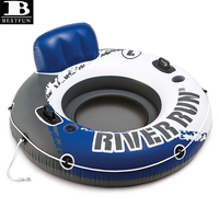 thickened PVC river run inflatable 1 person pool mesh float tube with built-in backrest and cup holders