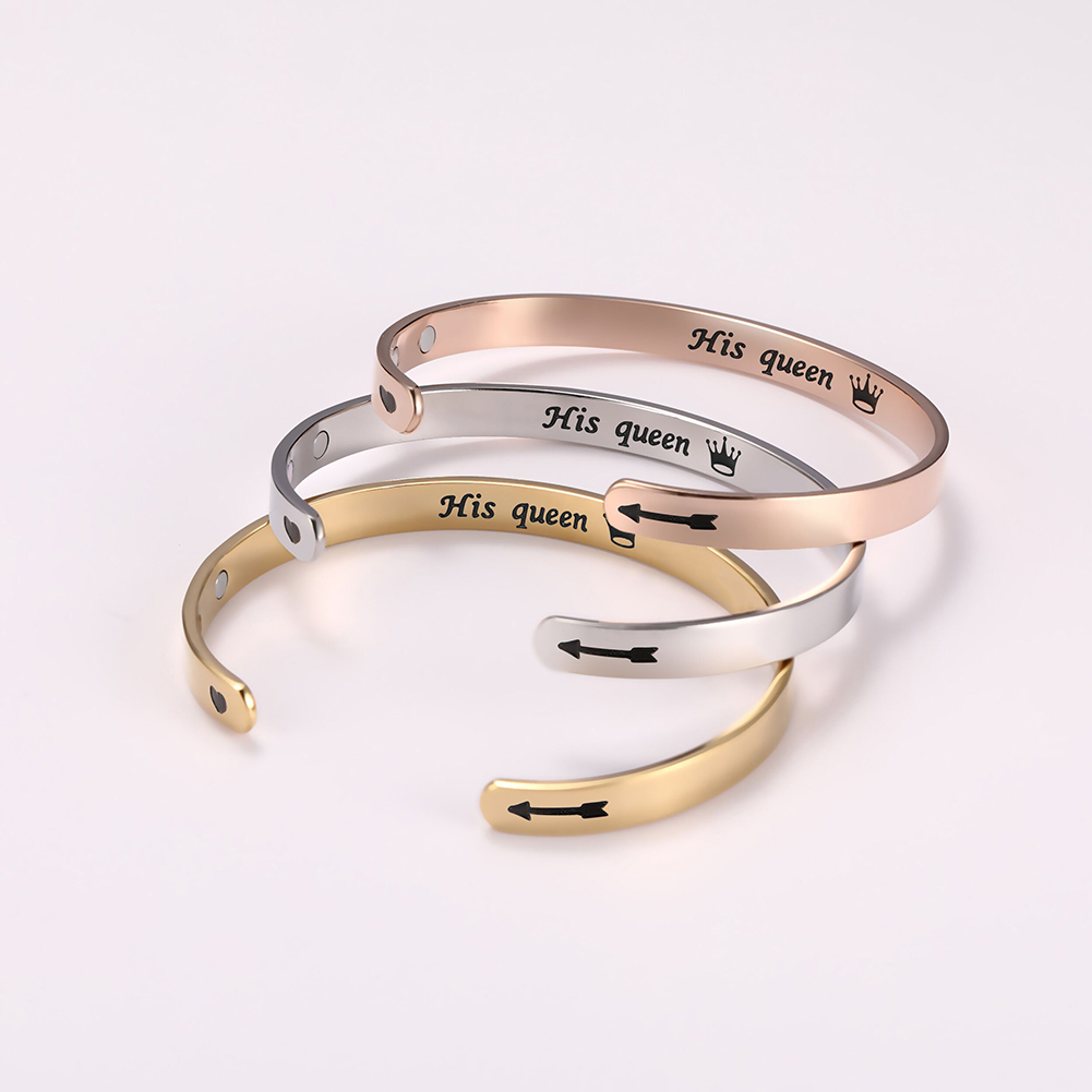 SSB041 Latest C Shape Lettering Crown Her King His Queen Stainless Steel Bracelet Magnetic Couple Bracelet for Lovers