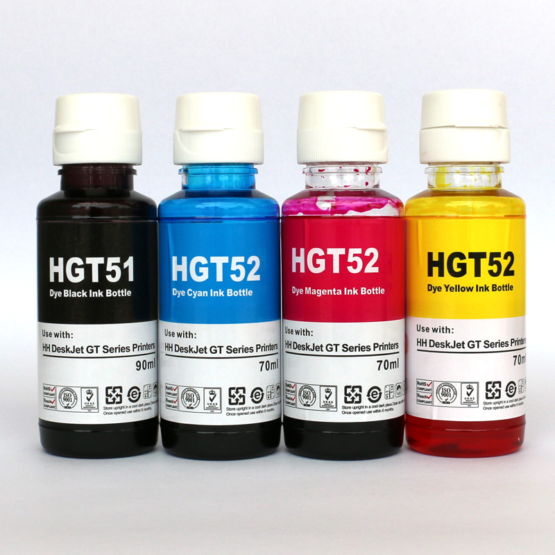 Refillable DYE ink kit replacement for hp GT51 GT52 GT 51 52 for GT5810 GT5820 5810 5820 Deskjet Printer Ink 90mlBK 70ml C/M/Y
