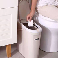 Pop Up Hotel Room Home White Press Small Plastic garbage trash bin With Lid