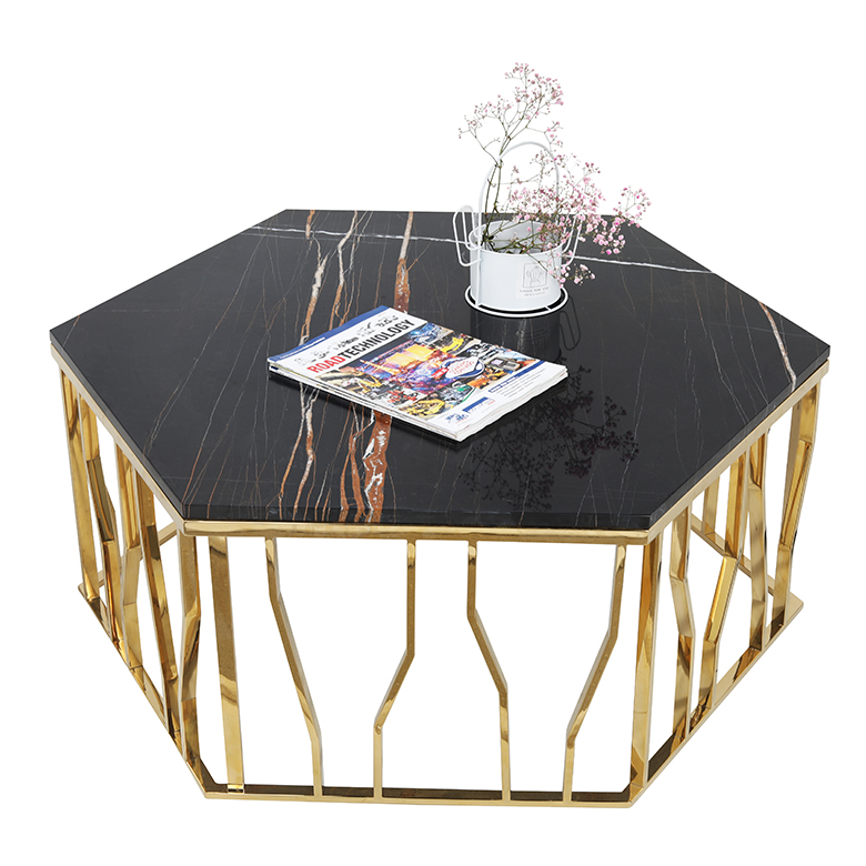 Modern white and black marble top gold coffee <strong>table</strong>