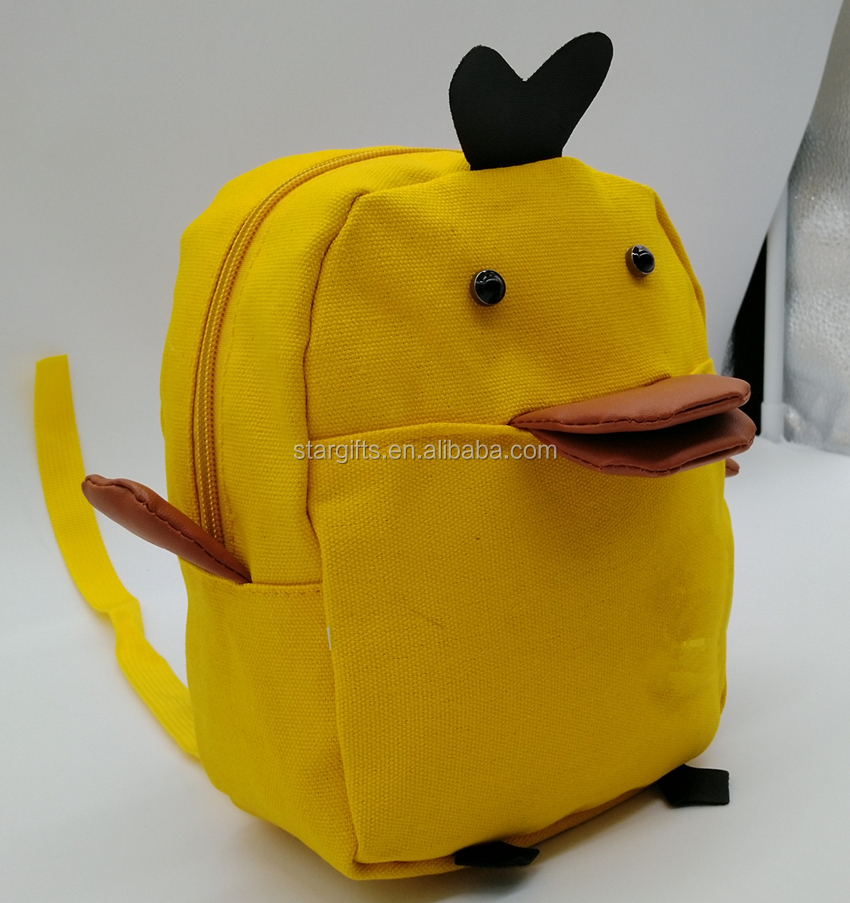 China Manufacturer Custtom Made 15L Small Canvas Yellow Cute Duck Animal Shape School Backpack Bag for Kids Child