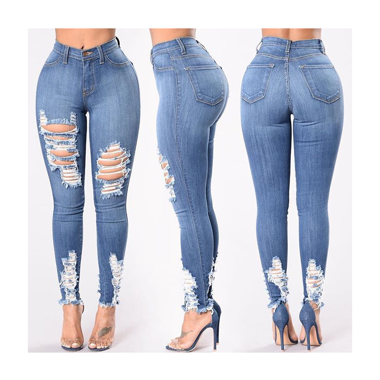 Wholesale Fashion Blue Denim Women's Juniors Distressed Slim Fit Sexy Tight Stretchy Jeans
