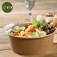 100% Eco-Friendly Disposable Take Away Kraft Paper Salad To Go Bowls With Cover