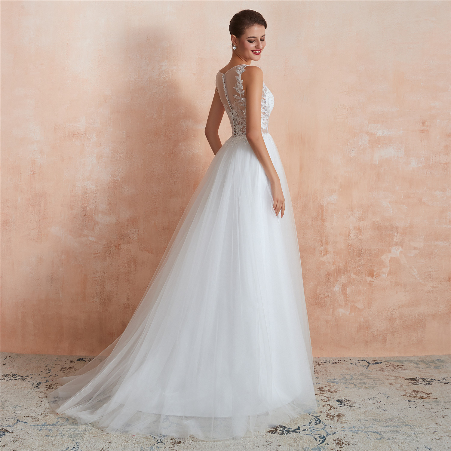 Sexy o-neck  Lace Dot Tulle Bride Beach Casual Bride Gown Sling backless  Sequin wedding dress Simple Boho Wedding Dress 2020